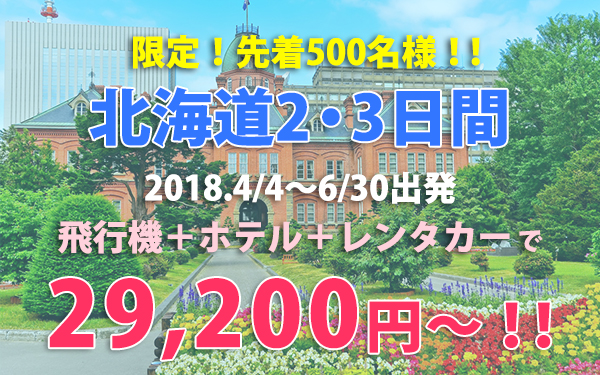 北海道2・3日間2018年4月4日~6月30日出発